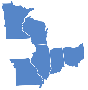 Map of states wher Motomart is located Illinois, Indiana, Missouri, Ohio, Minnesota, Wisconsin