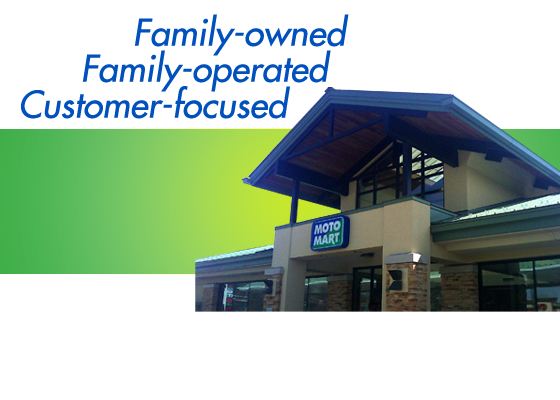 About Us page banner. Image of MotoMart Store. Family owned, Family Operated, Customer focused