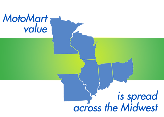 Map of states where MotoMart stores are located